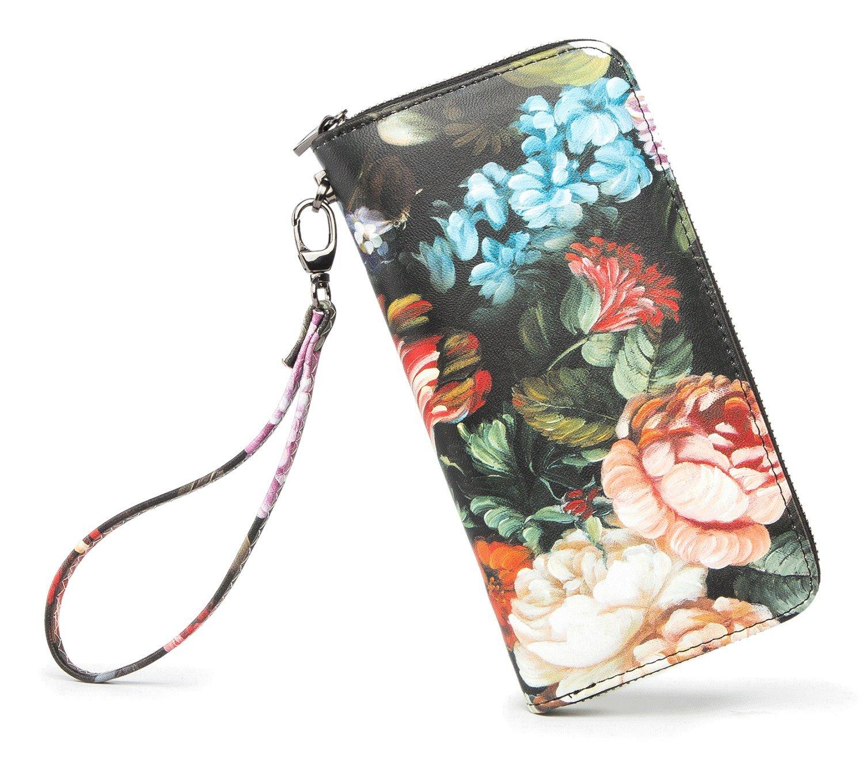 LIKEYOU Women Wallet Zip Around Clutch Card Wallet(OIl Painting-Flower)