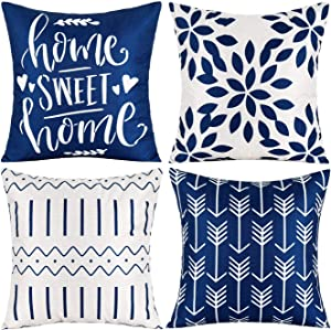 """Pack of 4 Home Decorative Throw Pillow Covers Modern Cotton Linen Throw Pillow Covers Cushion Case for Couch Sofa Living Room Home Décor (Dark Blue, 2020"""")"""