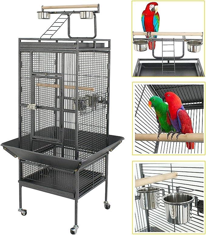YOUKE Jaula para Pájaros Jaulas Grandes para Canarios Loros Jaula Metal Grande155*45.5 * 45.5CM (Negro)