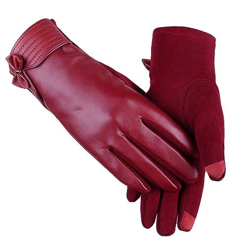 Otoño e invierno nuevas mujeres cálidas guantes de cuero PU versión AB de los guantes de la pantalla táctil de pelotas de pelo brillante guantes de equitación al aire libre , red