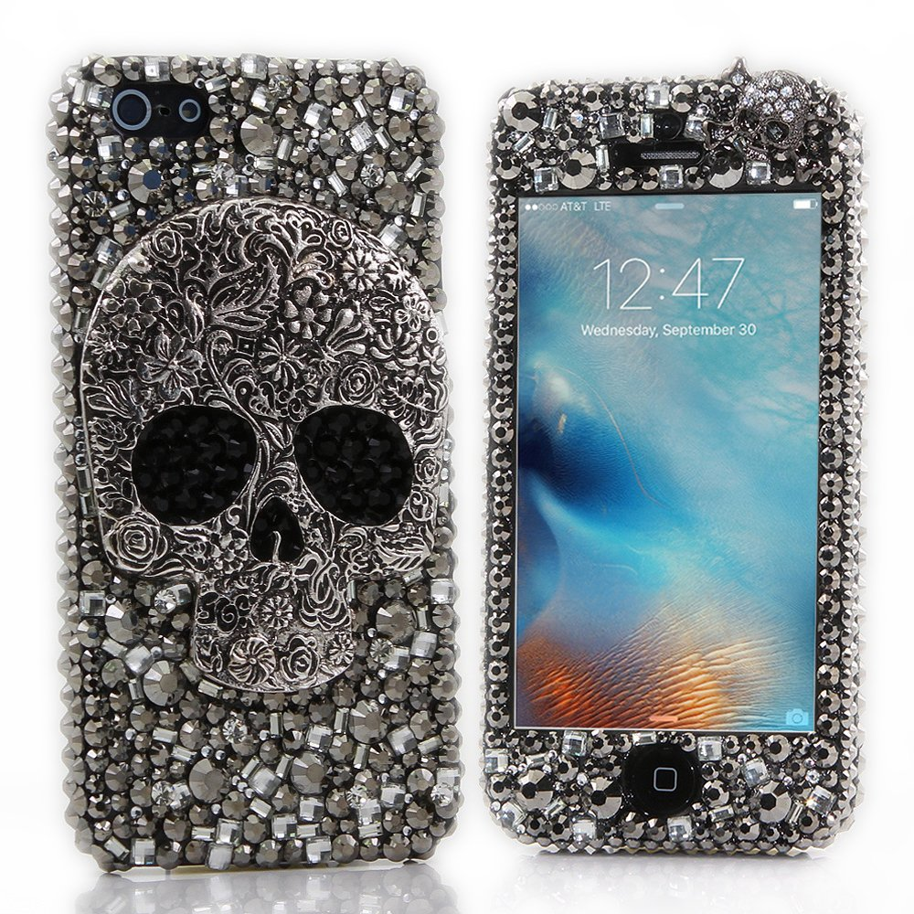 iPhone 7 Plus Bling Case - Fairy Art Luxury 3D Sparkle Series Front & Back Snap-on Hard Cover with Soft Wallet Purse Red Cloth Pouch (Big Skull Kito / Black)