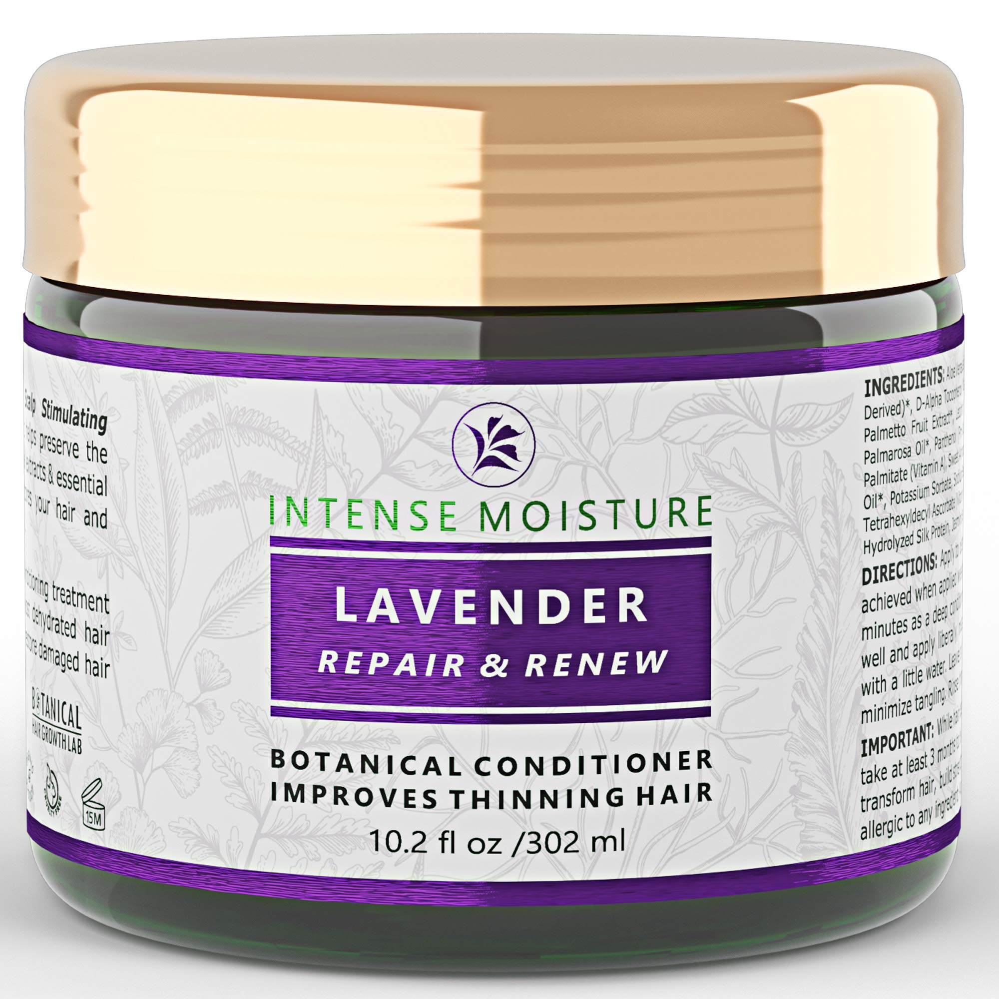 Hair Loss Conditioner Lavender - Cypress Intensive Repair For Weak Thinning Hair - Lab Formulated - Postpartum / Alopecia / DHT Bocking 10.2 Oz by BOTANICAL HAIR GROWTH LAB