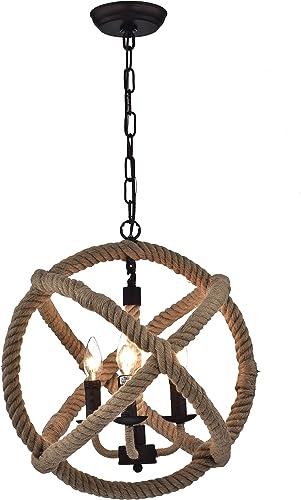 Warehouse of Tiffany RL8149AB Twirlie 16.5-inch Hemp Rope Antique Bronze Metal Chandelier