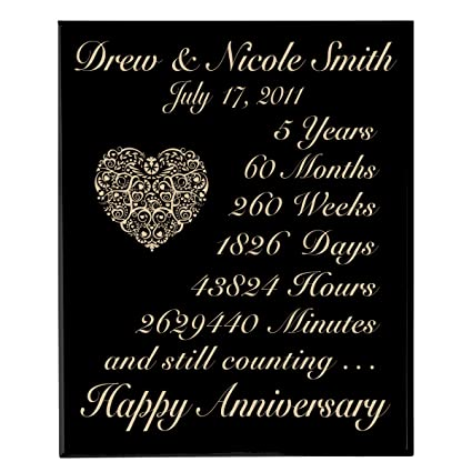 Amazon Personalized 5th Wedding Anniversary Wall Plaque Gifts