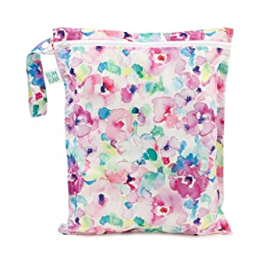 Bumkins Waterproof Wet Bag, Washable, Reusable for Travel, Beach, Pool, Stroller, Diapers, Dirty Gym Clothes, Wet Swimsuits, Toiletries, Electronics, Toys, 12x14 – Watercolors