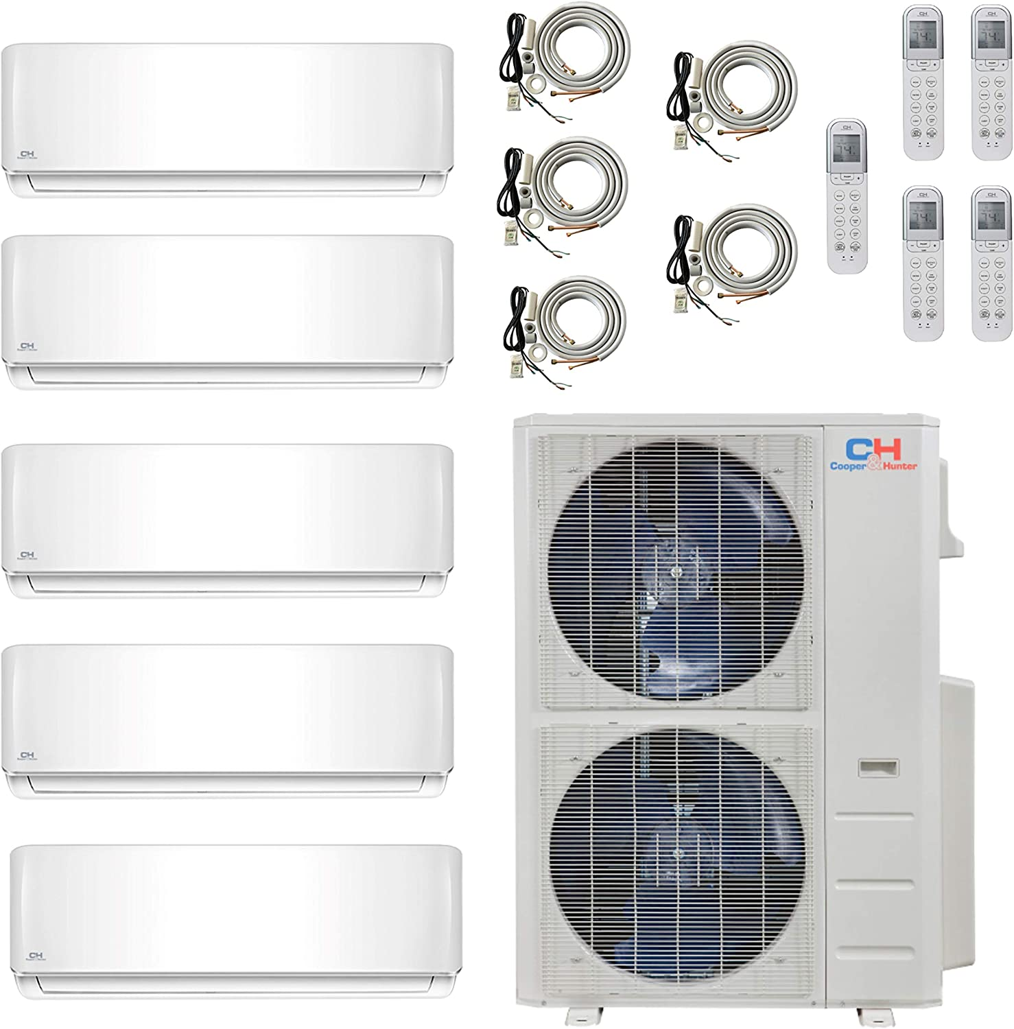 COOPER AND HUNTER Five 5 Zone Ductless Mini Split Air Conditioner Heat Pump 9000 12000 12000 12000 18000 Full Set WiFi