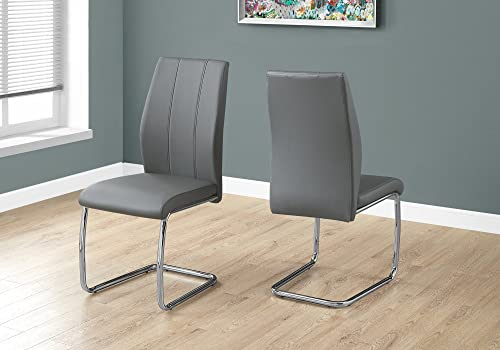 Monarch Specialties 2 Piece DINING CHAIR-2PCS/ 39″ H/GREY LEATHER-LOOK/CHROME