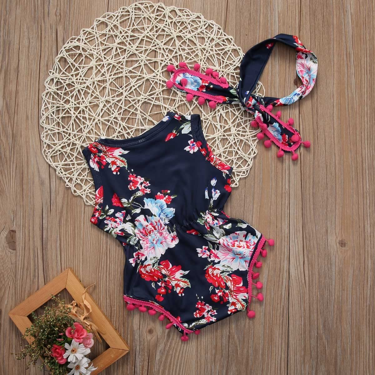 Headband Baby-Girls Floral Outfit Romper Clothes Sleeveless Tassel Bodysuit