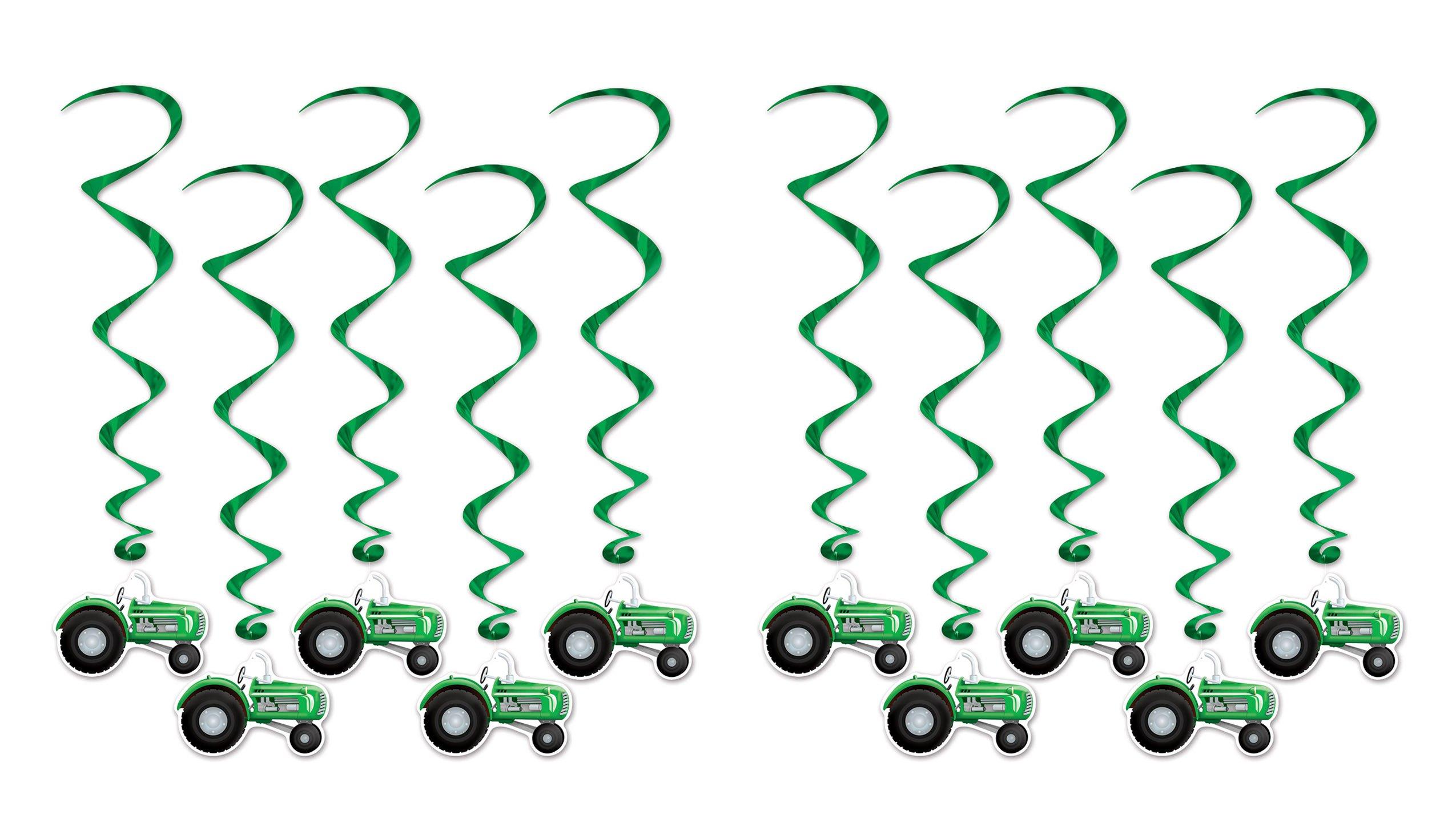 Beistle S57555AZ2 Tractor Whirls, Green/Black/White