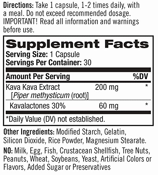 Natrol Kava Kava Nutrition Label
