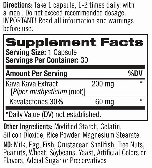 Natrol Kava Kava Nutrition Label