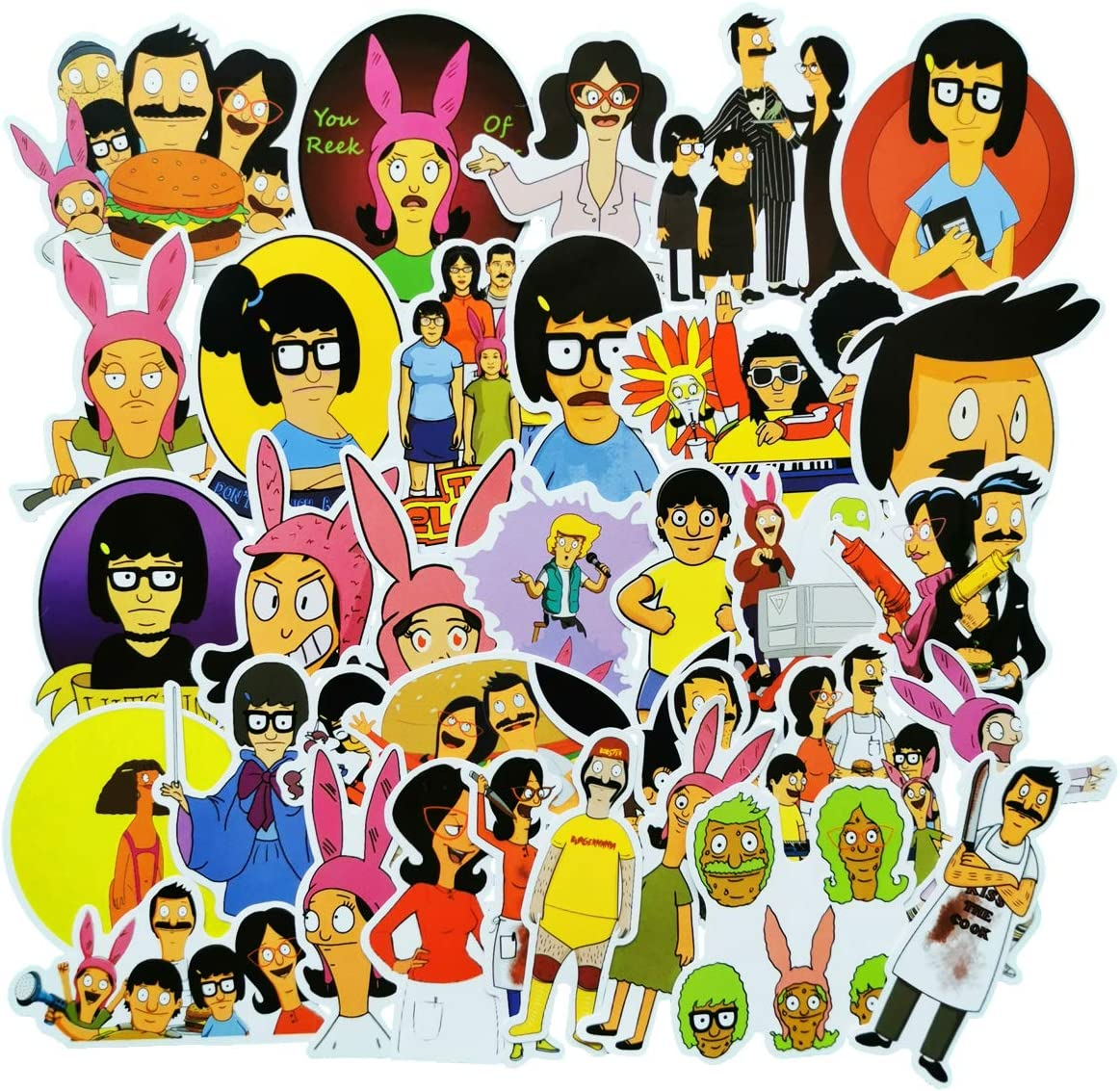Bob's Burgers Waterproof Stickers/Decals (34 pcs) of Anime Cartoon for Laptop Skateboard Snowboard Water Bottle Phone Car Bicycle Luggage Guitar Computer PS4(Bob's Burgers)