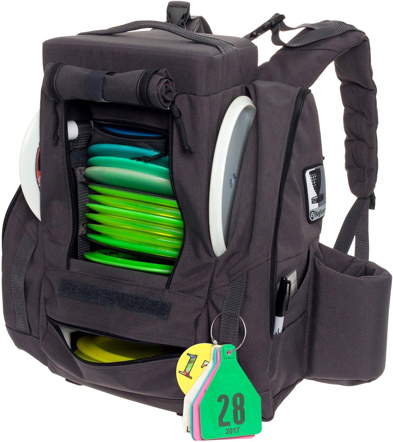 BagLane Fusion Pro Disc Golf Backpack w/Built-in Seat - 25+ Disc Capacity Frisbee Golf Bag (Grey)