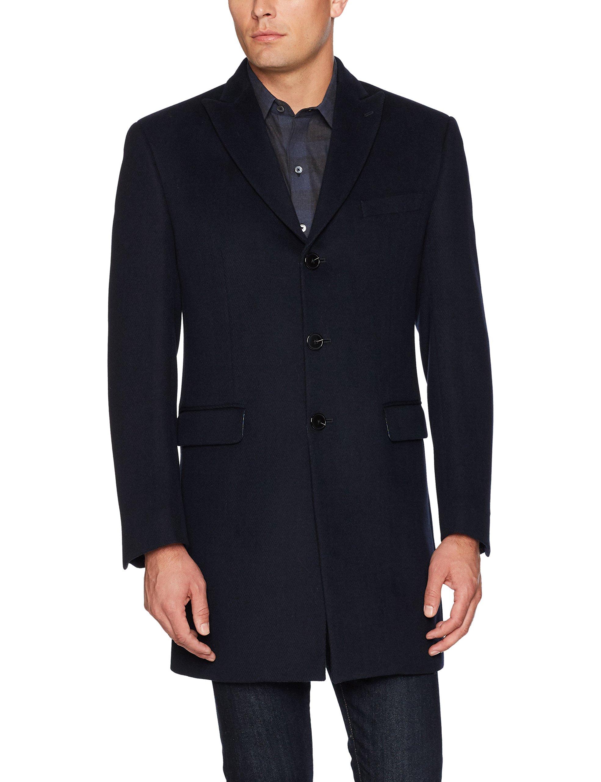 Tallia Men's Versailels Herrring Bone Three Button Peak Lapel Wool Blend Coat, Navy, L