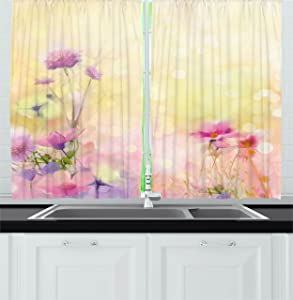 Ambesonne Watercolor Flower Home Decor Kitchen Curtains, Vintage Soft Feminine Magnolia Blooms Motif Whorls Art, Window Drapes 2 Panels Set for Kitchen Cafe, 55 W X 39 L inches, Pink Light Yellow