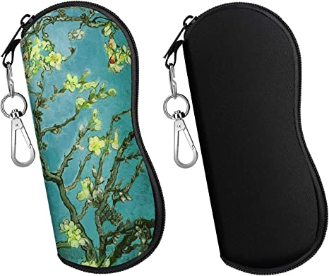 MoKo Funda de Gafas - 2 PZS [Ultra Ligero] Neopreno Con Cremallera Almacenaje Lente Suave Sunglasses Case con Clip de Cinturón para Gafas, Bolsa de Llaves, Lápices, Tarjetas - Negro + Flor
