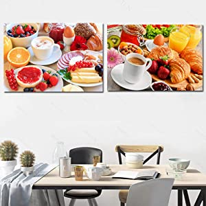 Coffee Bread Fruit Food Poster For Dining Room Delicious Breakfast Afternoon Tea Canvas Painting Wall Art Printed Pictures-50x70cmx2 Frameless