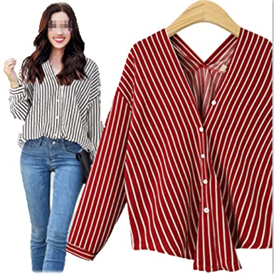 9c3ccdb7b643d Prettyever Stylish V-Neck Women's Stripe loosehin Long-Sleeved Female at Amazon  Women's Clothing store: