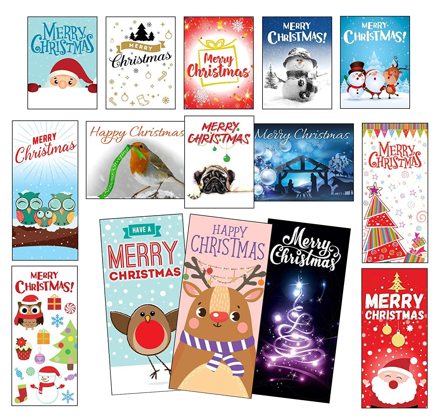 Pack of 120 Quality Christmas Cards/Cello Packs/Made in UK cardwarehouseuk