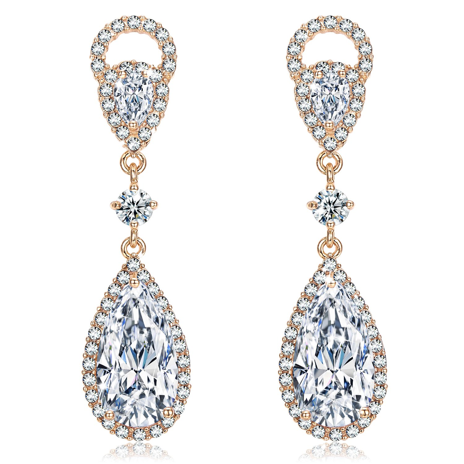 Incaton Wedding Crystal Earrings with Pearl Extended Best Christmas Gifts for Bridal and Women