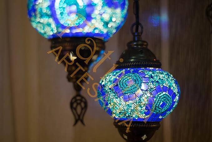 Lámpara turca mosaico de cristal de 3 bolas de techo (azul ...