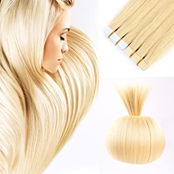 16\' Remy Tape In Human Hair Extensions Blonde