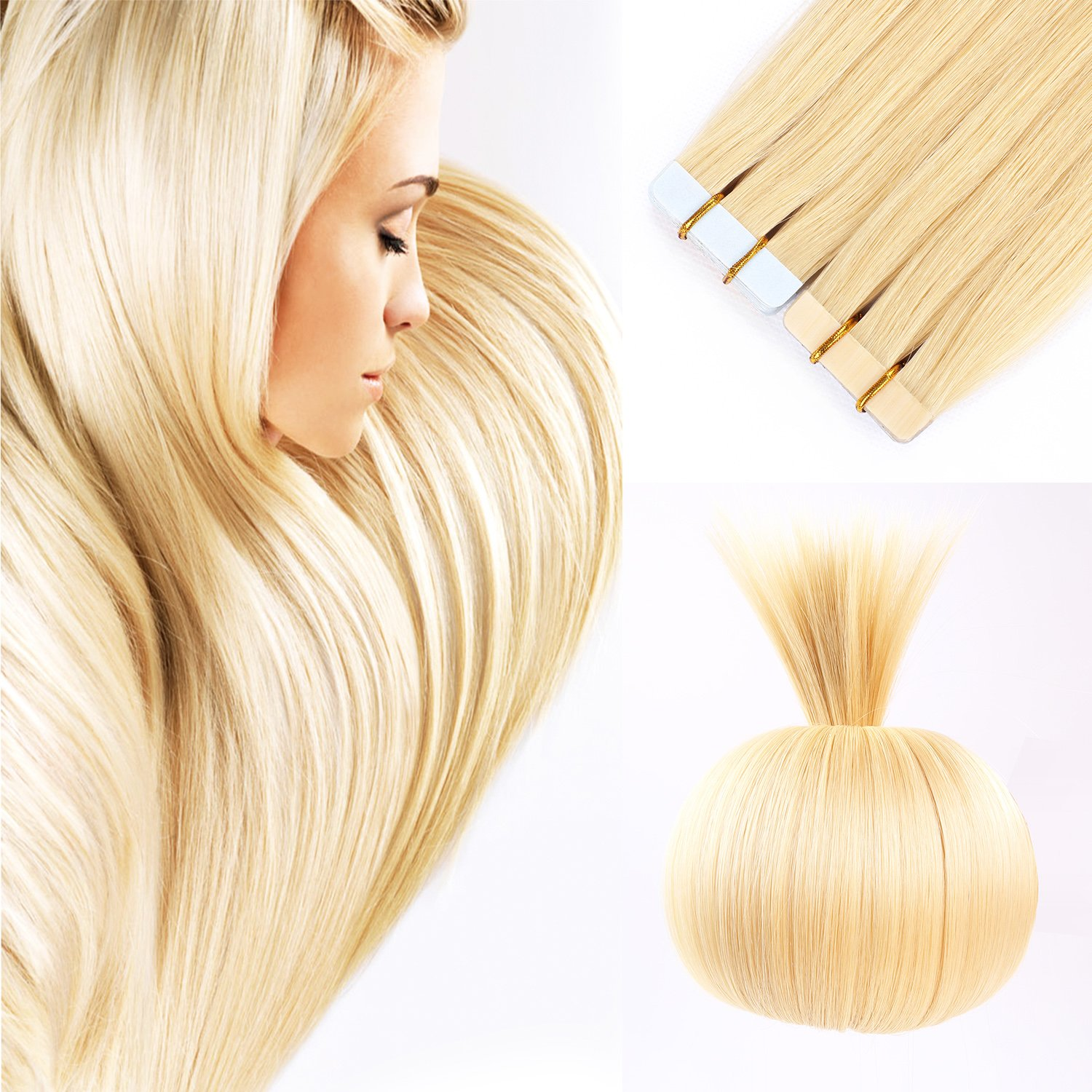 Amazon 16 Remy Tape In Human Hair Extensions Blonde Full