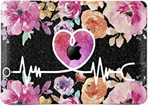 Lex Altern Glitter Case for Apple MacBook Air 13 inch Pro Mac 15 Retina 12 11 2020 2019 2018 2017 Nurse Floral Flower Sparkly Crystal Cute Heart Bling Cover Doctor Protective Pink Women Black Gold