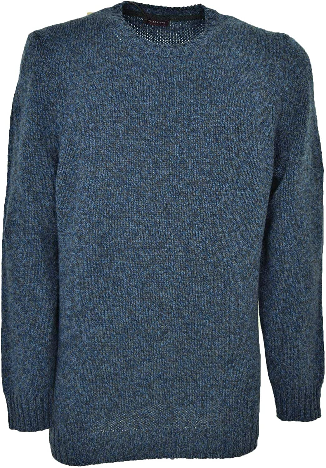 50/% Cashmere 50/% Wool Ballantyne Sweater Men Crew Neck Melange Blue