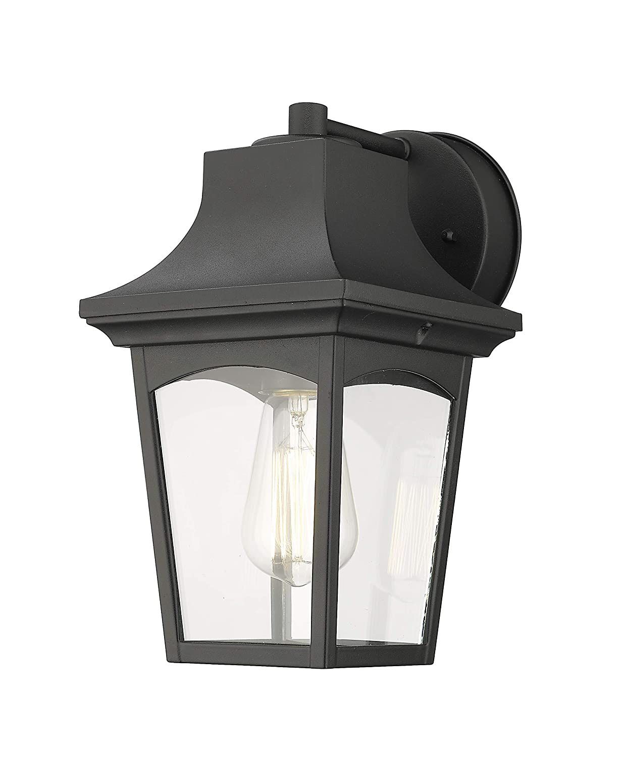 Emliviar outdoor lighting fixtures wall mount 1 light wall sconce black finish with clear glass shade 0406 wd amazon com