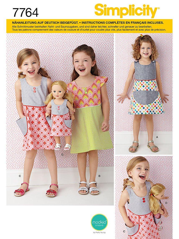 Simplicity 7764.A - Cartamodello per abito da bambina e bambola burda style S7764.A