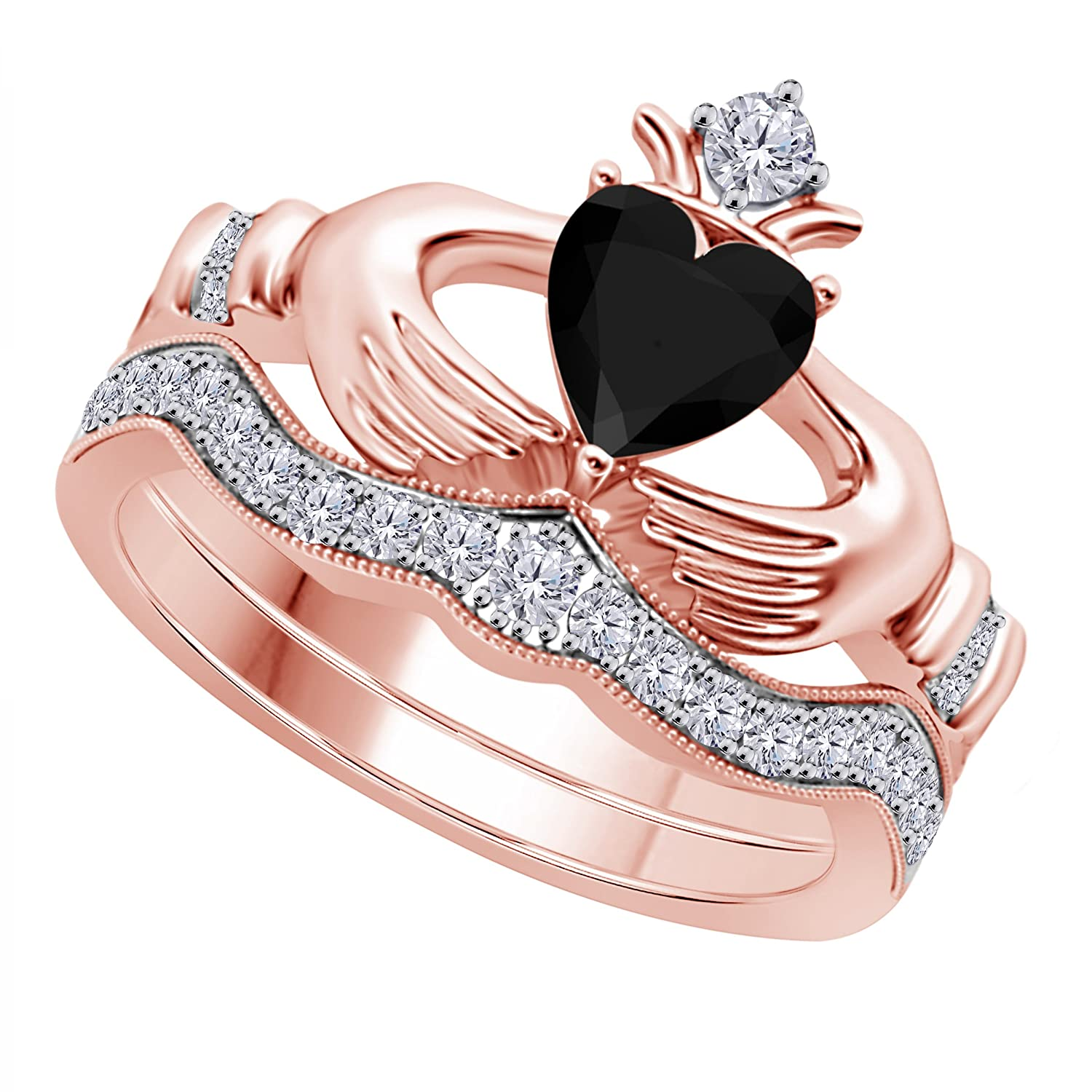 Amazon.com: Women\'s 14k Gold Plated Alloy 1.00CT Heart Cut Created ...