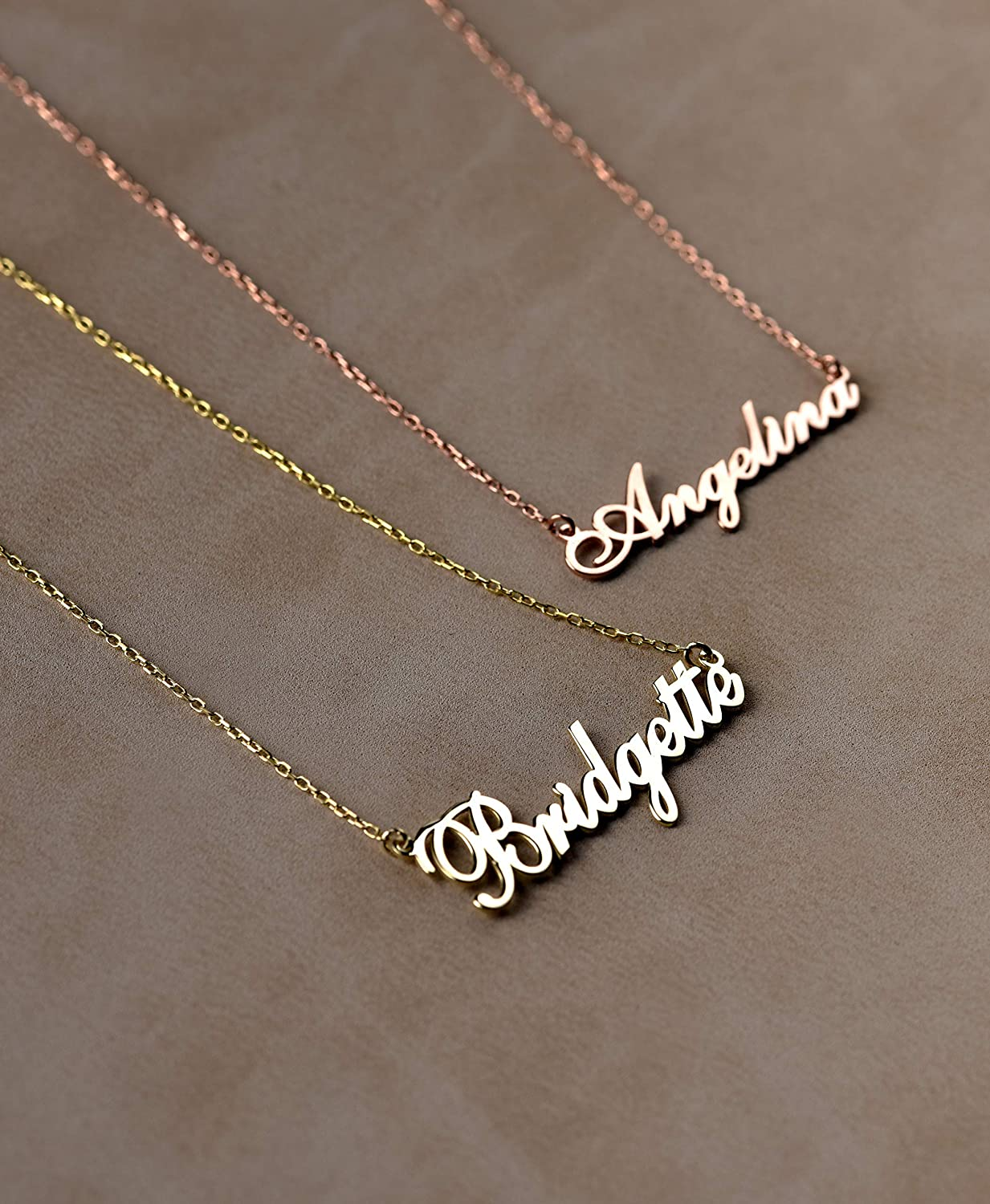 df029f666b427a Amazon.com: 14K Solid Gold Personalized Necklace, Custom Gold Necklace  Gift, Dainty Script Name Necklace, Cursive Name Jewelry, Gold Necklace For  Women: ...