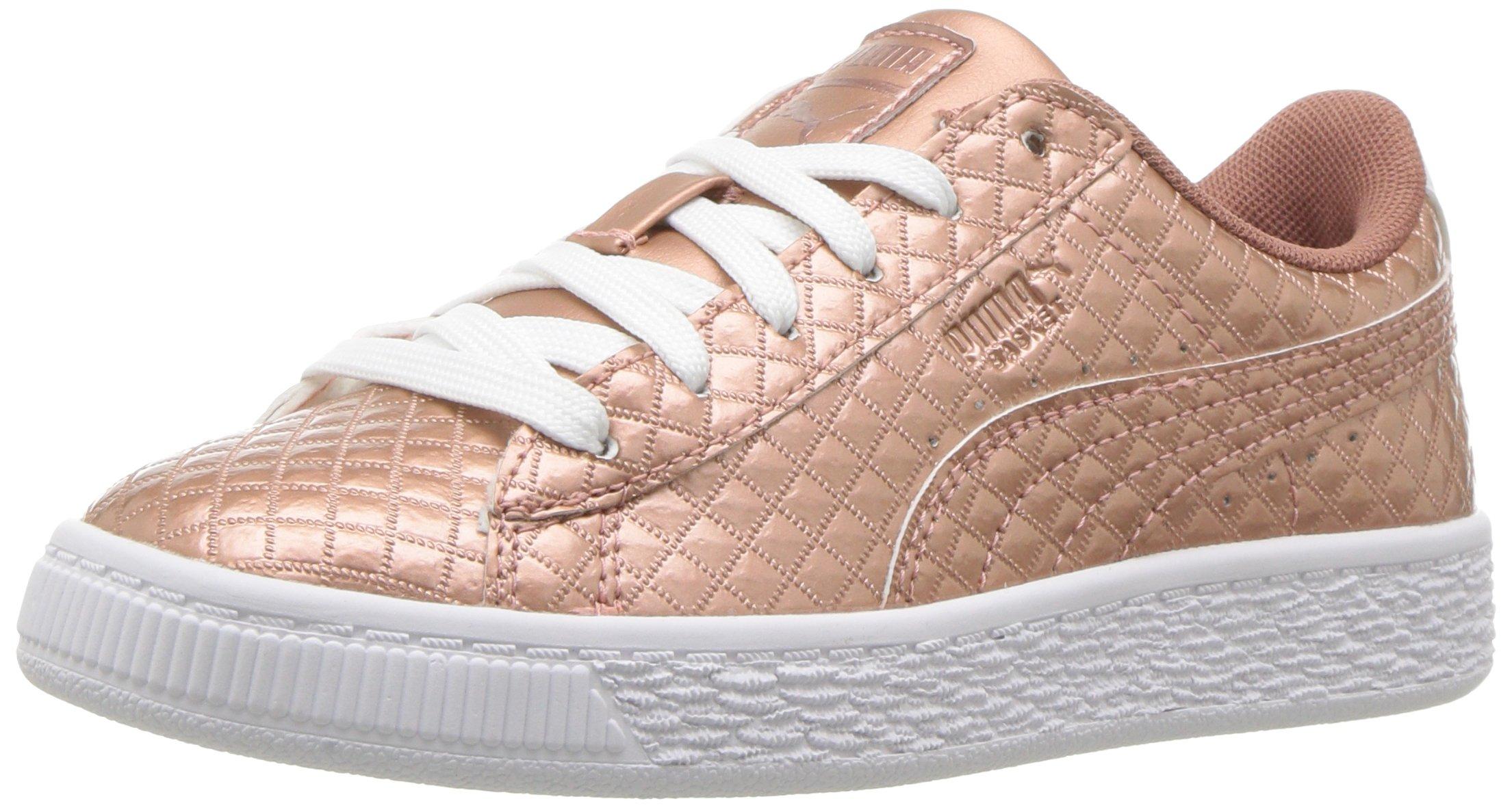 promo code 7f99d fb80c PUMA Kids' Basket Met Emboss Sneaker,Copper Rose-Puma White,2.5 M US Little  Kid