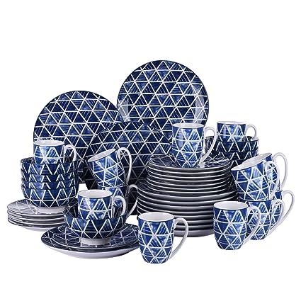 vancasso SAKAKI Juego de Vajillas 48 Piezas Tazas de Desayuno, Cuencos, Platos de Postre/Cena, para 12 Personas Vajillas Modernas Azul