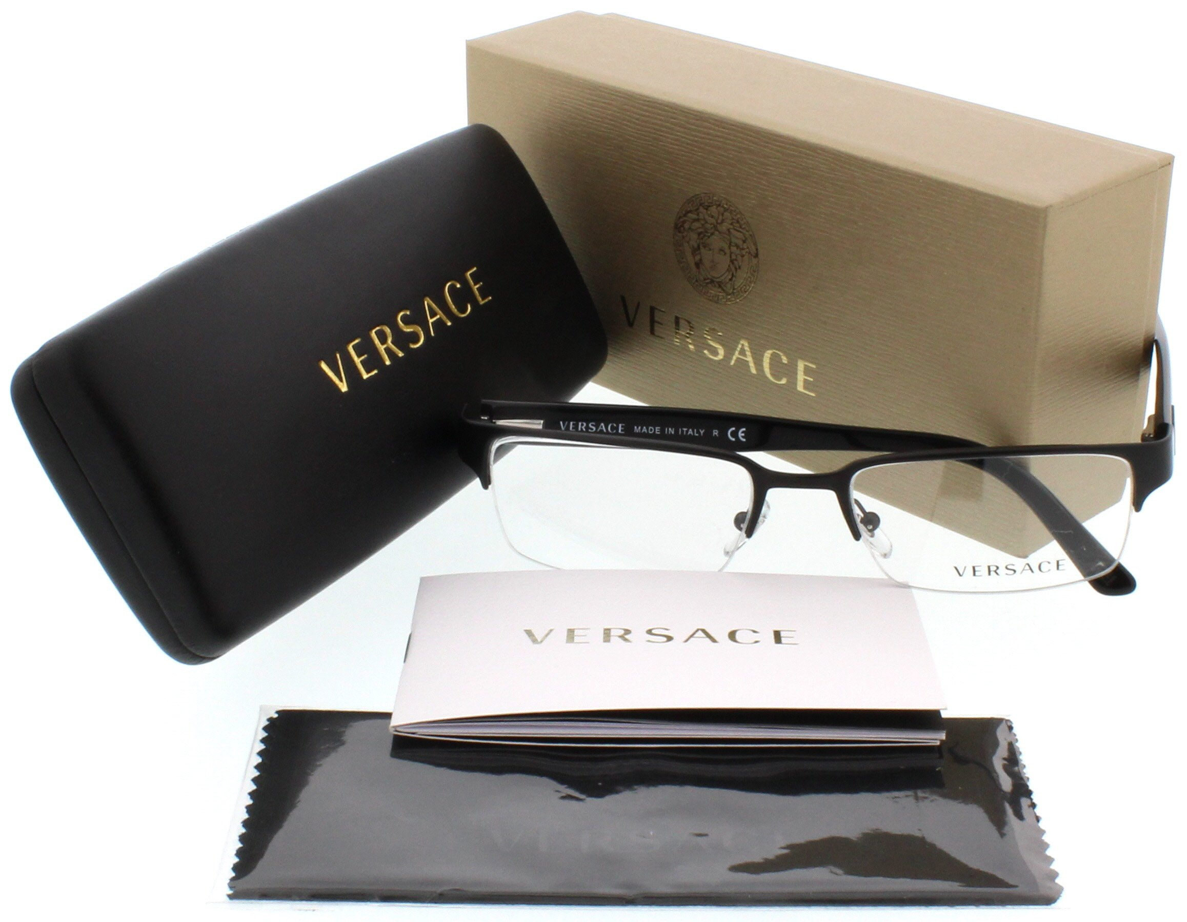 Versace VE1184 Eyeglasses-1261 Matte Black-53mm by Versace
