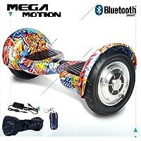 "Mega Motion 10"" Elektro Scooter Elektroroller Skateboards Bluetooth mit Lautsprecher Hoverboard 10 Roll Reifen Aufblasbar"