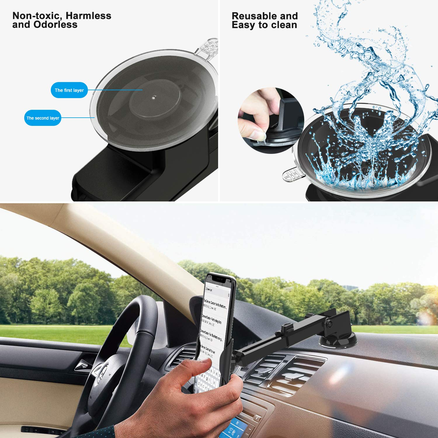 Car Phone Mount 3 in1 Universal iVoler Handsfree Holder Extendable Cradle for Air Vent Dashboard Windshield Strong Suction Cup Gel Compatible iPhone XR XS Max 7 8 Plus X 6s Samsung Galaxy Note S9 S8 4351527001