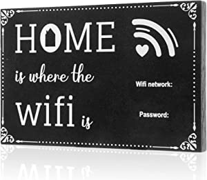 WiFi Password Sign Table Decors Home Wood Framed Sign Table Centerpieces Decoration Wooden Hanging Board Craft Topper Letter Welcome Party Wood Photo Block Holder Plaque for Home and Business