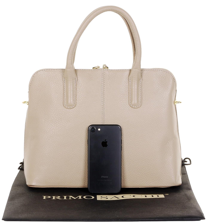 Italian Textured Leather Hand Made Bowling Style Handbag Tote Grab Bag