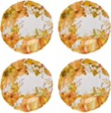 Northeast Harvest Autumn Fall Thanksgiving Pumpkin and Leaves Melamine Salad Plates, Set of 4