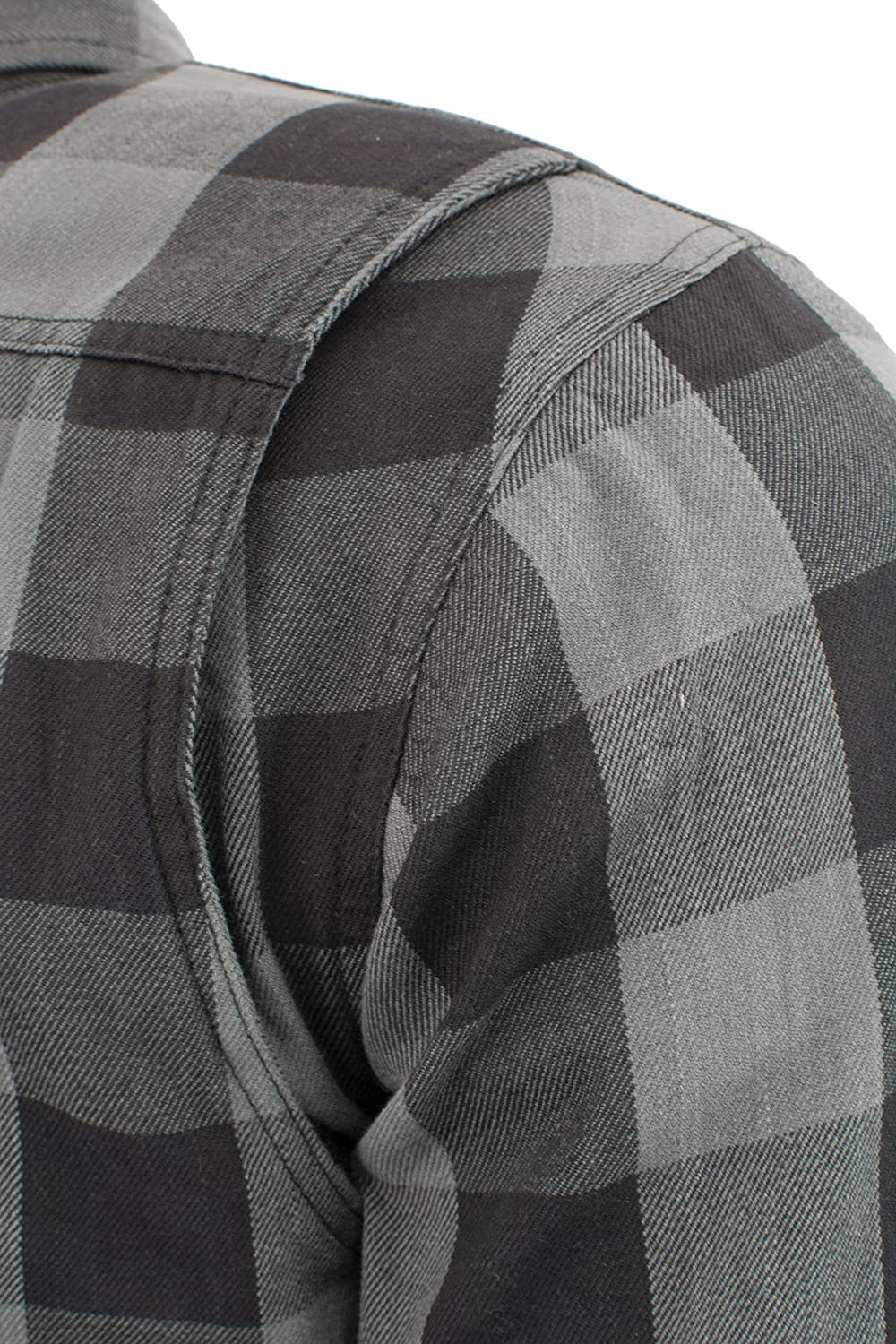 Milwaukee Performance-Mens Armored Checkered Flannel Biker Shirt w//Aramid by DuPont BLK//GREY1630-3X