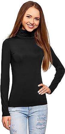 oodji Ultra Mujer Suéter de Cuello Alto Básico, Negro, ES 46 / XXL ...