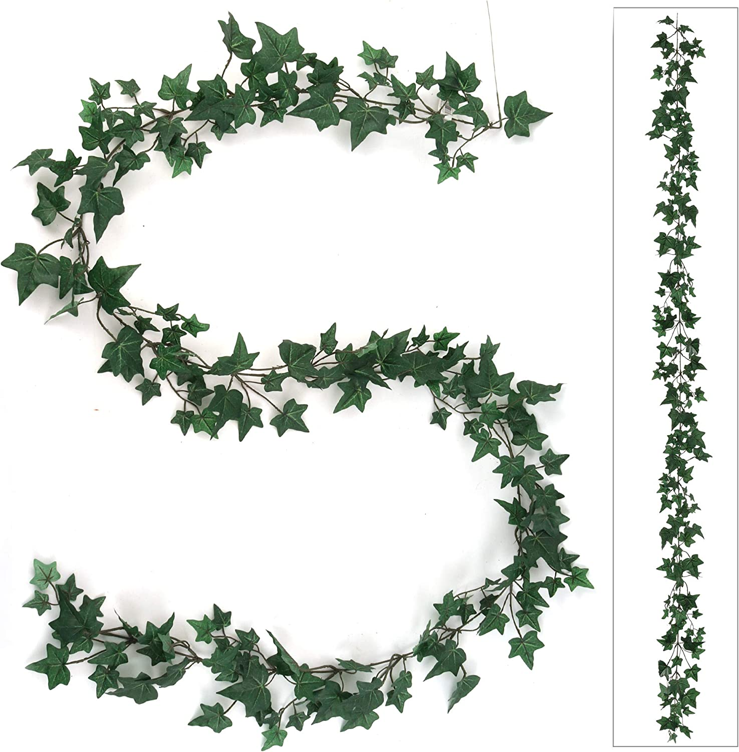 Larksilk Green Uv Resistant English Ivy Garland 6ft Variegated Ivy Leaves Artificial Hanging Vine Plant Bedroom Event Wedding Diy Backdrop Greenery Décor One Piece Home Kitchen