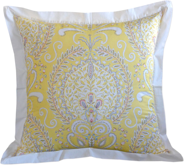 Dena Home Payton European Square Sham, Full/Queen, Yellow/White