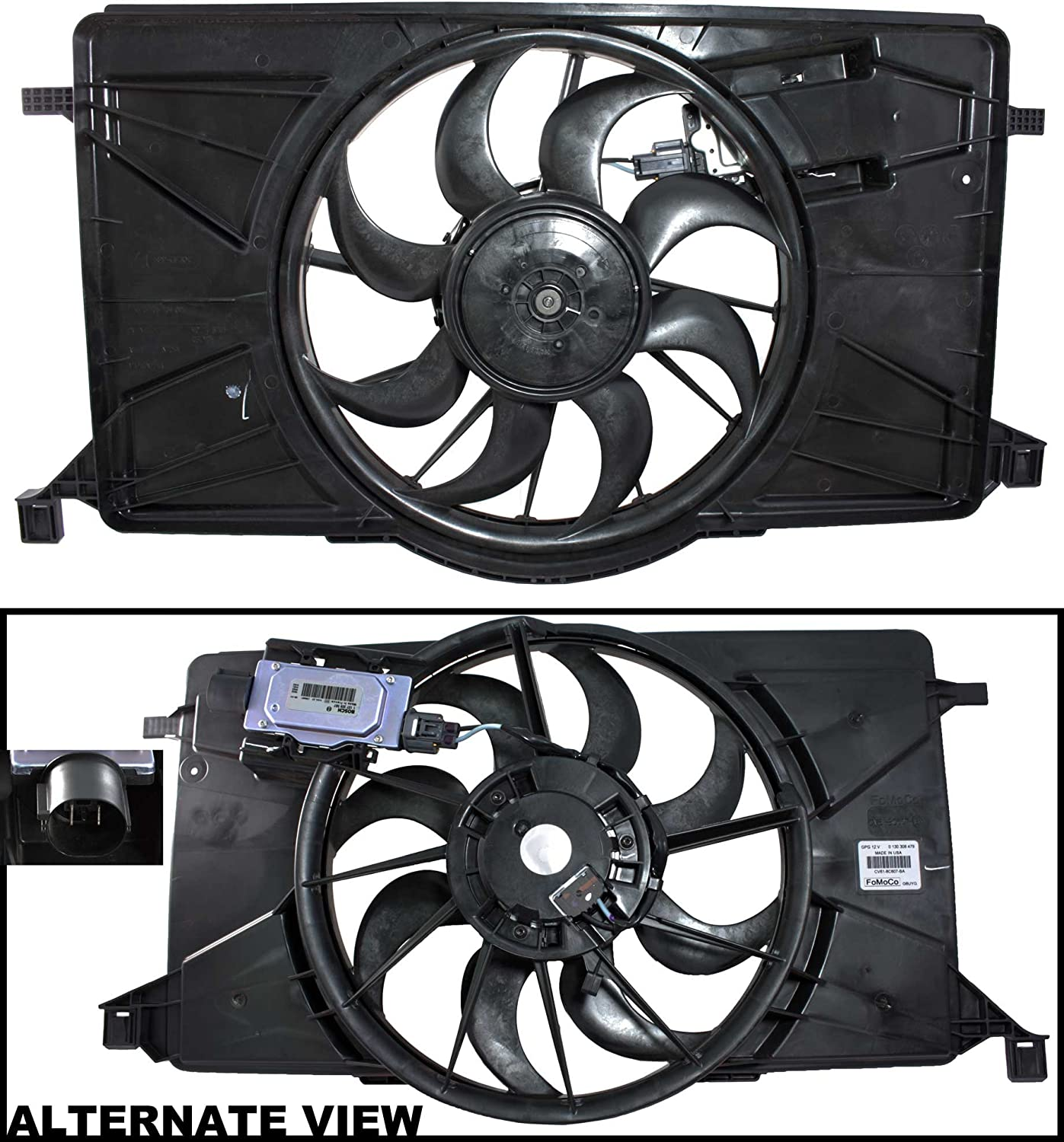 APDTY BV6Z8C607K Radiator Cooling Fan Assembly Fits 2012-2017 Ford Focus Non-Turbo (Includes Fan Control Module, Electric Motor, Shroud (Replaces Ford RF396, RF276, BV6Z8C607K)