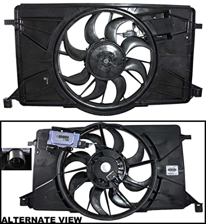 APDTY BV6Z8C607K Radiator Cooling Fan Assembly Fits 2012-2017 Ford Focus Non-Turbo (