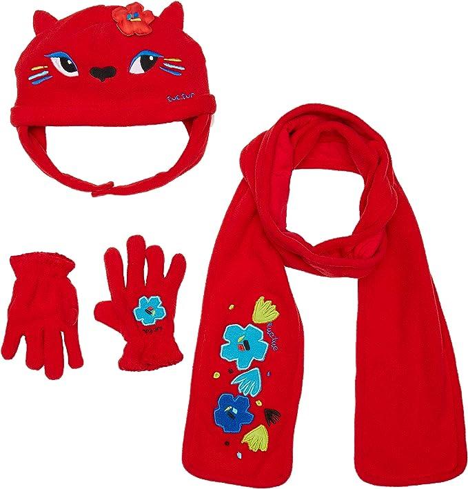 6-9 ans Berretto e guanti in pile Bambino Ragazza Hello Kitty rosso e grigio di 3/a 9/anni rosso rosso 54 Set Sciarpa