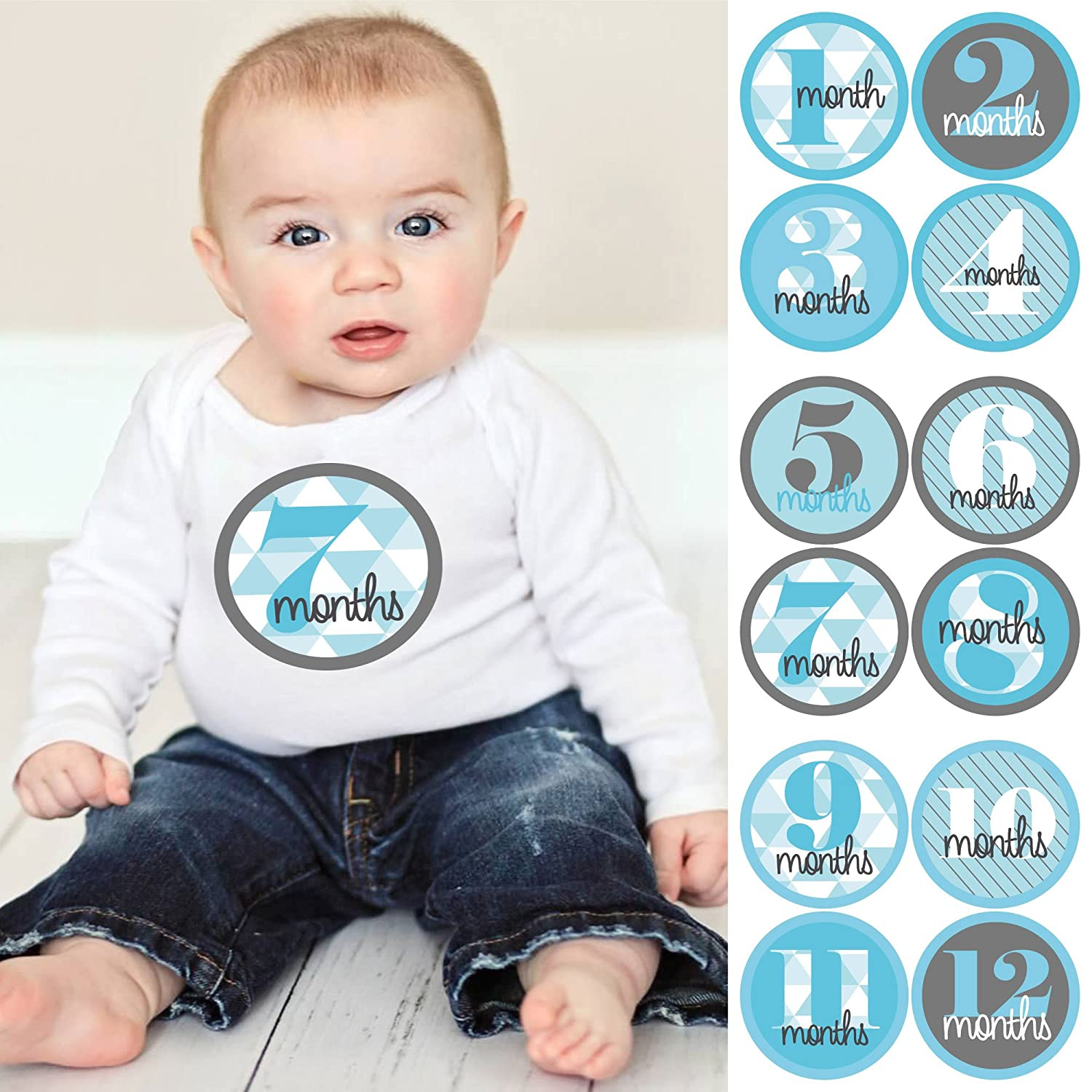 Amazon Com Geometric Blue Gray Baby Boy Monthly Sticker Set Baby Shower Gift Ideas 12 Piece Baby