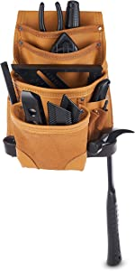 AWP Classic Leather Tool Pouch | Premium Top Grain Leather Pouch with 10 Pockets, tan, one (LT-683-3)